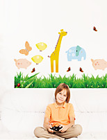 Wall Stickers Wall Decals Style Grass Cartoon Animals PVC Wall Stickers