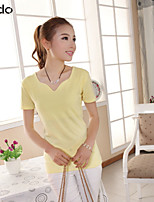 Women's Blue/Pink/Red/White/Black/Yellow/Gray T-shirt , Casual V Neck Short Sleeve