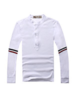 Men's Long Sleeve T-Shirt , Cotton Blend Casual/Sport Pure