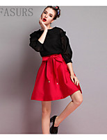 Women's Beach/Casual/Cute/Party Micro-elastic Medium Above Knee Skirts (Polyester)
