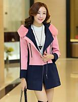 Women's Color Block Pink/Orange/Yellow Coat , Vintage/Casual Long Sleeve Wool Blends