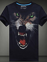 Men's European Style 3D Wolf Printing T-Shirt (Cotton)