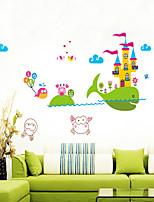 adesivos de parede do estilo decalques de parede de parede desenhos animados dos peixes do mar adesivos pvc