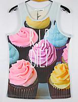 European Style TEE Digital Printing 3D Sleeveless Cup Cake Harajuku Vest