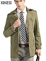 Men's Casual/Work Pure Long Sleeve Regular Trench coat (Cotton Blend) XKS7C21