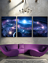 E-HOME® Stretched LED Canvas Print Art Shining Star LED Flashing Optical Fiber Print Set of 3
