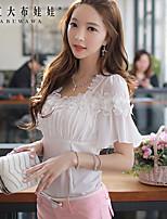 Damen Hemd  -  Perlenbesetzt/Blume Elasthan/Polyester Kurzarm Quadratischer Ausschnitt