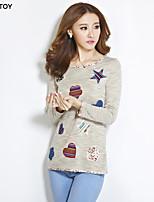 SEXY TOY®Women's Casual/Cute Micro-elastic Long Sleeve Regular T-shirt (Knitwear)