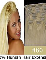 18inch 8pcs / set 110g clip-in cheveux remy extensions de cheveux humains 8 couleurs pour la beauté des femmes