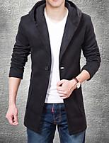 Men's Casual/Work/Formal Pure Long Sleeve Regular Trench coat