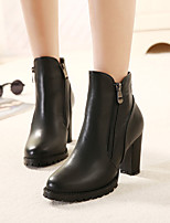 Women's Shoes  Chunky Heel Pointed Toe Boots Casual Black