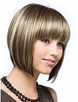 Impressive Regularity Bangs Mixed Color Bob Hairstyle Capless Syntuhetic Hair Wigs
