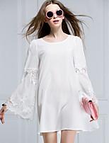 Women's Bateau Lace Blouse , Chiffon/Lace Long Sleeve