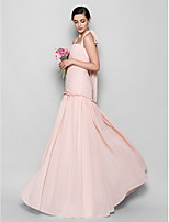 Floor-length Chiffon Bridesmaid Dress - Pearl Pink Fit & Flare Halter