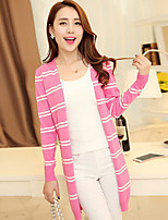 Women's Casual Work Thin Long Sleeve Stripe Knitwear Cardigan