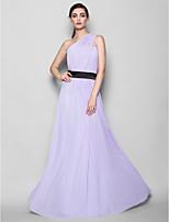 Floor-length Georgette Bridesmaid Dress - Lavender Sheath/Column One Shoulder