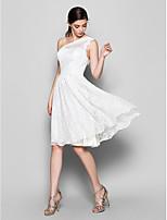 Vestido de Dama de Honor - Blanco Corte A Solo Hombro - Hasta la Rodilla Encaje