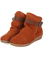 Women's Shoes Nappa Wedge Heel Wedges/Round Toe Boots Outdoor/Casual Yellow/Burgundy