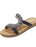 Women's Shoes Faux Leather Flat Heel Round Toe Sandals Casual Blue/White