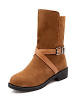 Calçados Femininos - Botas - Arrendondado / Botas da Moda - Salto Grosso - Preto / Amarelo / Bege - Flanelado - Social