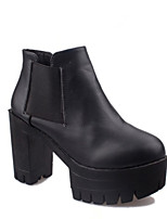 Women's Shoes Faux Leather Chunky Heel Bootie Boots Casual Black/Beige