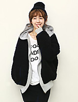 Women Rabbit Fur/Faux Fur Outerwear/Top , Hoodie
