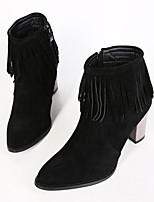Women's Shoes Fleece Kitten Heel Fashion Boots/Pointed Toe Boots Casual Black/Gray