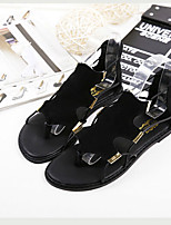 Women's Shoes Synthetic Flat Heel Toe Ring Sandals Casual Black/Gray