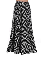 xiw&F Women's Vintage/Casual/Print/Maxi Geometry Maxi Skirts (Polyester)