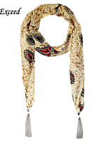 D Exceed  Women Match Street Beat Beige Yellow Scarf Leaf Printed Chiffon Scarves Abstract Silver Tassel Scarfs