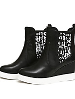Women's Shoes Leather Wedge Heel Wedges/Fashion Boots/Round Toe Boots Outdoor/Casual Black