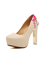 Women's Shoes   Cone Heel Heels/Round Toe Pumps/Heels Casual White/Neutral