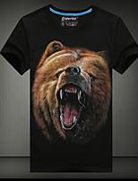 Men's European Style 3D Bear Printing T-Shirt (Cotton)