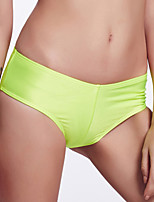 The Fille Women's Cute Rose Red Bowknot/Mid Waist/ Solid Fluorescent Green Bikini Panties