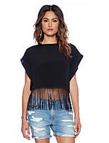 Women's Solid Black Blouse , Round Neck Sleeveless Tassel