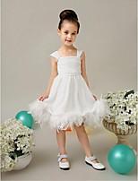 פרח שמלת ילדה - שמלת נשף - תה באורך - ללא שרוולים - טול/שיפון קטיפה