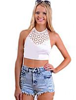 Women's Sexy Lace Cute Plus Sizes Inelastic Sleeveless Short Shirt (Lace)
