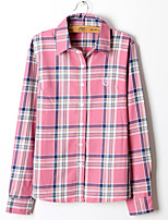 Women's Vintage European Style Plaid Blouse Long Sleeve Regular Shirt (Cotton)
