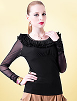 Women's Casual Stretchy Long Sleeve Regular Blouse (Mesh/Nylon)