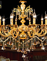 Modern Gold Color LED Crystal Chandelier With 8 Arms For Living Room Bedroom And Dining Room Lighting