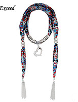 D Exceed 2015 New Chiffon Scarf Necklace CCB Heart with Rhinestone Pendant Scarfs Necklace with Tassles for Women
