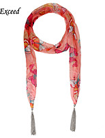 D Exceed  Women Charming Chiffon Scarves with Silver  Alloy Tassel Pink Butterfly Print Neck Scarfs