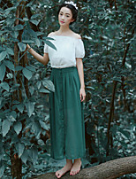 Women's Casual/Party/Work Solid Color Thin Midi Skirts (Chiffon)