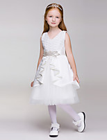 A-line Knee-length Flower Girl Dress - Lace/Polyester Sleeveless