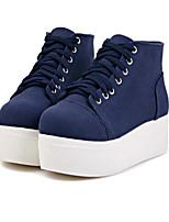 Zapatos de mujer - Tacón Plano - Creepers / Punta Redonda / Punta Cerrada - Tacones - Casual - Tejido - Azul / Rojo / Blanco