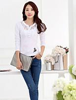Women's Character White T-shirt , Round Neck Long Sleeve Flower