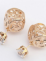 Women's Fine Fashion  Hollow-out Pentagram Pattern Stud Earrings With Rhinestone