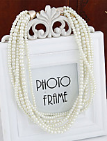 Women's Fashion Wild Multi-layer Necklace Bracelet Imitation Pearl Wedding Set