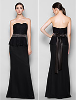 Vestido de Madrinha - preto Tubo/Coluna Curação Longo Chiffon/Renda