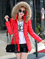 Women's Solid Red/Black/Yellow Parka Coat , Casual Hooded Long Sleeve